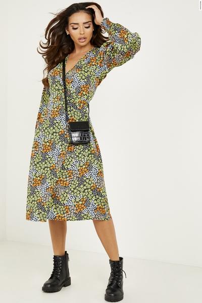 Multicoloured Floral Wrap Midi Dress